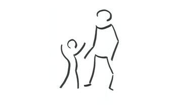 Strichzeichnung eines Mannes mit Kind