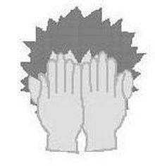 Zeichnung eines Kopfes mit davorgehaltenen Händen