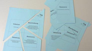 Kriterien psychischer Stressoren als Puzzleteile aufgeteilt in ihre Beschreibung, Belastung und Ressouce