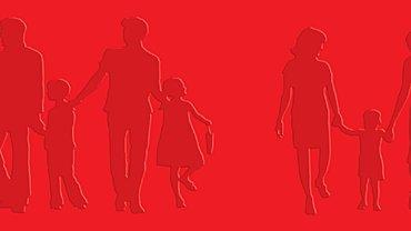 Illustration zweier Regenbogenfamilien