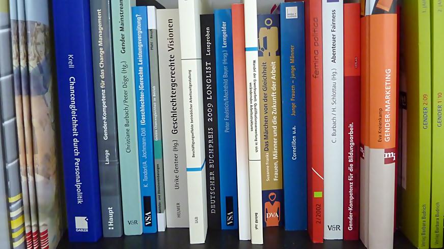 Broschüren und Bücher auf einem Regalbrett