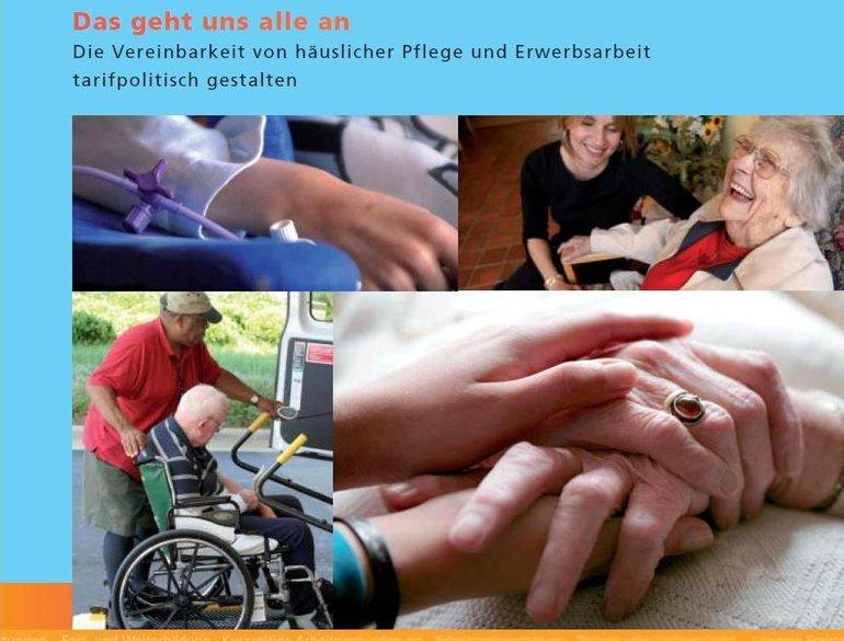 Broschürentitel mit Bildern, ein Mann schiebt einen andern Mann im Rollstuhl, alte und junge lachende Frauen, Hände