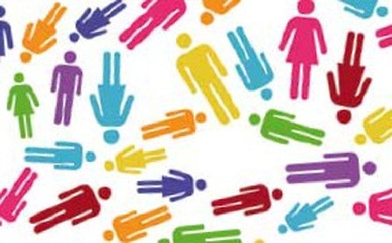 verschiedenfarbige weibliche und männliche Piktogrammfiguren